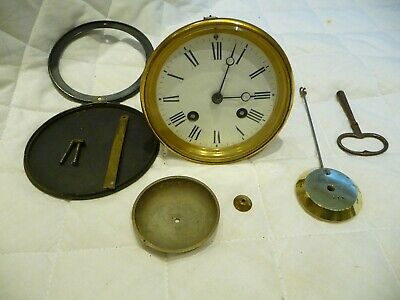 "Antique French Complete Bell Striking Clock Movement+Key ""Roblin A Paris 1880s"