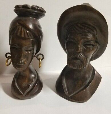 Vintage Dark Wood Hand Carved Wooden Busts Man & Woman Heads