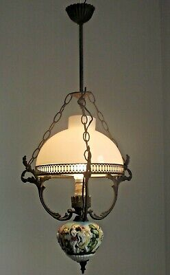 French Ceiling Lantern Metal Frame White Glass Shade Decorative Porcelain Finial