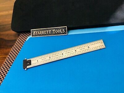 "STARRETT No.DH604R  6"" Double Hook Tempered-Steel Rule With 4R Graduations."