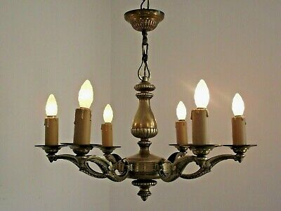 Stunning  Antique French 6 Arm Chandelier Stylish Acanthus Leaf Details 1632