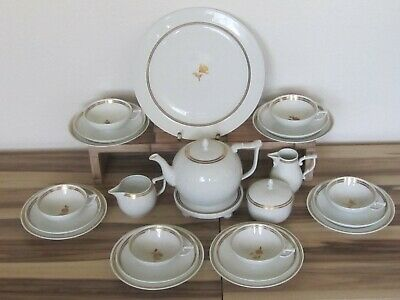 Meissen, Teeservice, I-Form, 24-teilig, Goldrand, Blumenmuster in Gold, 1.Wahl