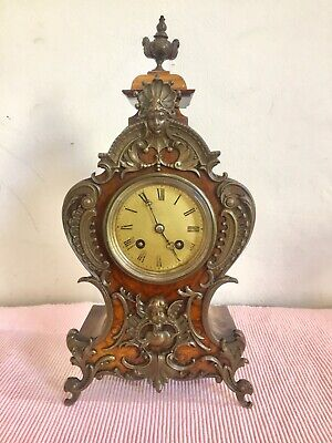 Antique Burr Walnut Cased Small French Boulle Clock By  Vincenti C1855