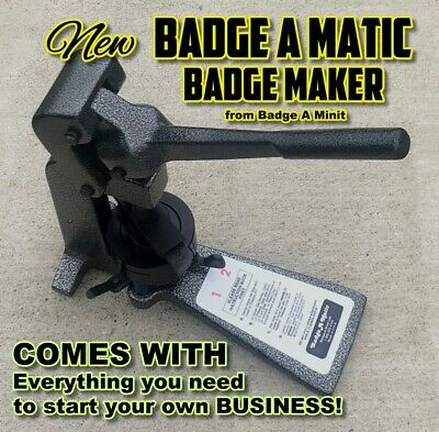 "NEW Complete Badge A Minit Matic Minute 2 1/4"" button maker over $450 retail"