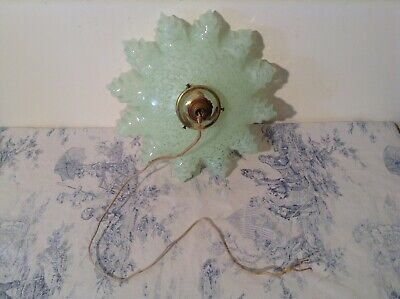 French Mid Century Vintage Green Hanky Frill Shade Pendant Ceiling Light