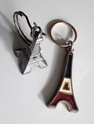 "Lot 2 Porte-Cles Souvenirs "" Tour Eiffel / Paris "" France * Monument / Keychain"
