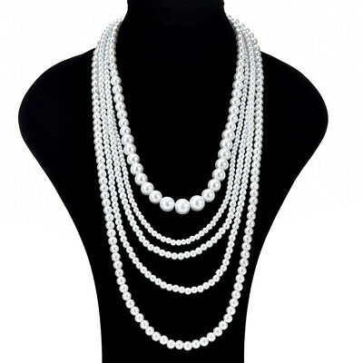 5 Layers Large White Pearls Necklace Chain Fashion Women Jewellery