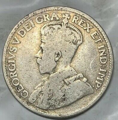 1913 Canada 25 Cents Coin  – George V 80.0% SILVER Canadian Quarter Dollar