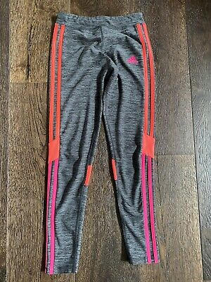 girls adidas pink/orange and gray leggings Size M (10-12) Great condition!