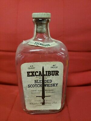 VTG Empty Julian EXCALIBUR Blended Scotch Whiskey 4/5 Quart Bottle w/cap & Stamp