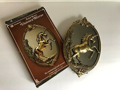 "Vintage Chadwick Solid Brass Unicorn Mirror NEW IN BOX 8 x 12.5"" NICE!!"