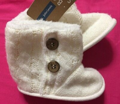 John Lewis baby winter white cream knit booties shoes