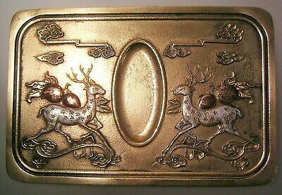 Chinese Bronze Ink Well Ink Stone Carved Inscription Deer Peaches