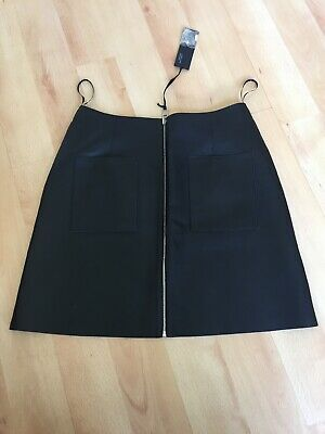 Bnwt M&S Autograph Black/Grey Soft Real Leather Skirt Feature Zip Sz 12 Rrp £149
