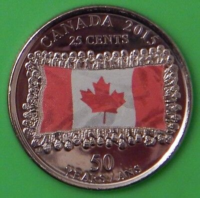 2015 Canada Paint Flag 25 Cents Graded as Brilliant Uncirculated