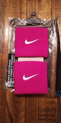 """Nike 2 Pack of 3/"""" Single Wide Unisex Swoosh Wristbands White with Rust Swoosh"""