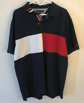 Mens Tommy Hilfiger Polo Short Sleeve Size 2XL Colorblock XXL