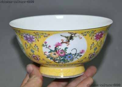 Old Chinese Dynasty Wucai porcelain Plum blossom flower bird statue Tea cup bowl