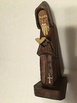 "Carved Wood Praying Monk/Priest w/Prayer Book, Rosary 9"" Tall, Made in Mexico"