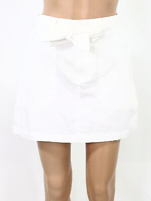 Ban Jara Womens Skirt Optic Bright White Size 26 Deep Pockets Belted $48- 786