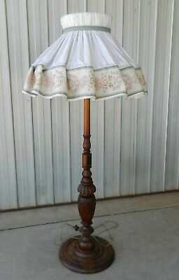 Carved Wood Floor Lamp with Silk Ballerina Swirl Shade Stunning Mahogany Antique