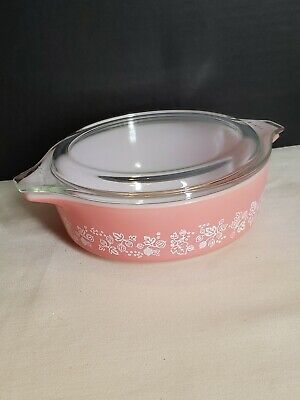 Pink Pyrex Glass Gooseberry Casserole Dish with Lid 1 Pint #471