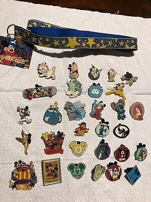 Lot Of 30 Disney Trading Pins Includes Lanyard