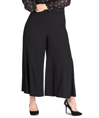 City Chic Womens Pants Black Size 18 Plus Cropped Wide Leg Stretch $85 291