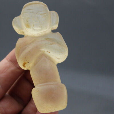 P584 Ancient Hongshan Culture Old Crystal Sun God Phallic Fertillty Pendant 3.4""