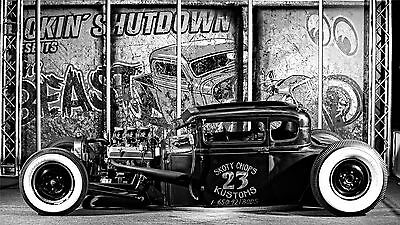"""Hot Rod Custom Roadsters Classic Muscle Cars Fabric Poster 24/""""x13/"""" 012"""