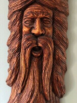 Intricate Hand Carved, Mustached Man Face Caribbean Wood Carving