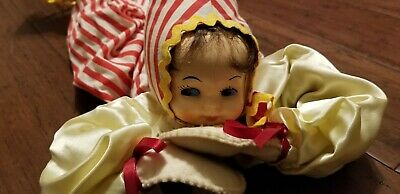 VINTAGE 1950's POSEABLE JESTER CLOWN MOLDED PIXIE FACE BENDABLE BODY BED DOLL