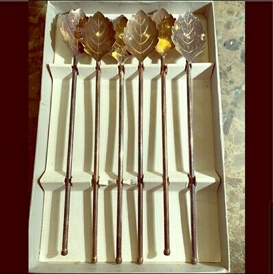 Set of 6 STERLING SILVER SIPPER SPOONS MADE IN DENMARK 1950-60's era MINT