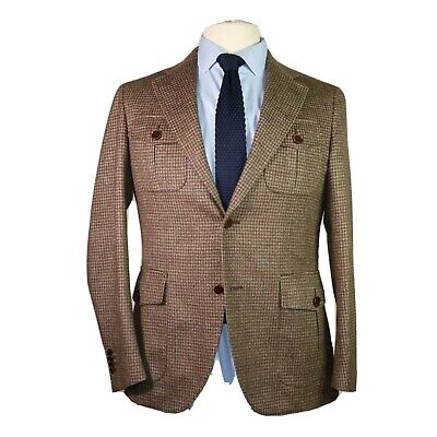 Cantarelli Men's Brown Plaid Wool 2 Button Blazer Sport's Coat Jacket 38R Italy