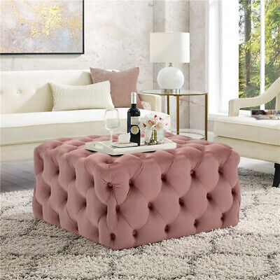 Pink Chesterfield Deep Button Footstool/Coffee Table/Vanity Dressing Chair Stool