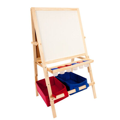 Multi-Use Children's Wood Easel w/ Storage Bins - light wood