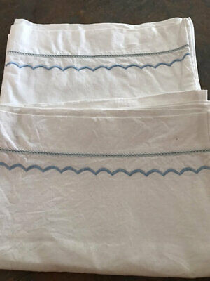 Vintage Cotton Pillowcase Pair.beautiful Blue Embroidered Trim.