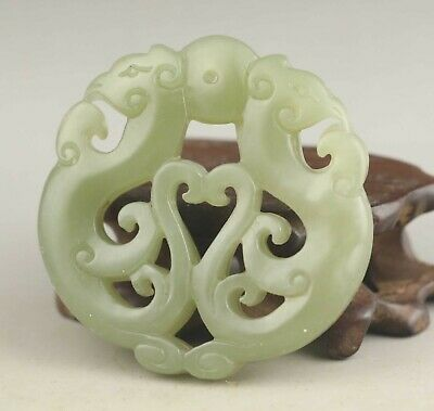 Chinese natural hetian jade hand-carved statue double dragon pendant 2.1 inch