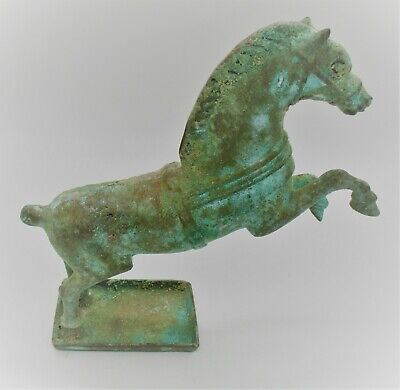 Ancient Roman Near Eastern Bronze Statuette In The Form Of A Cavalry Horse Rare