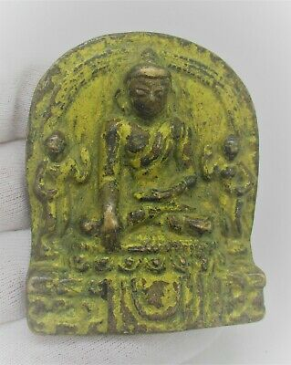 Ancient Near Eastern Gold Gilded Bronze Ornament Depicting Seated Buddha