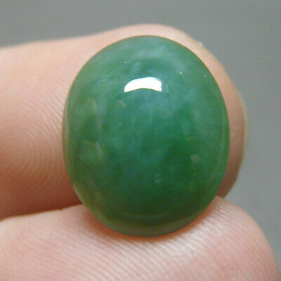 6.6 ct Genuine Jadeite Jade (Natural-Type A) Green-White Cabochon