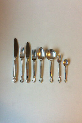 Georg Jensen Sterling Silver Acanthus Flatware Set for 6 Pers. 48 Pieces