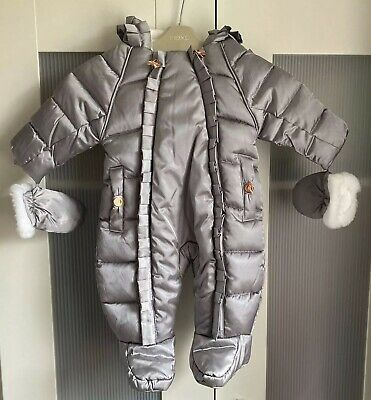 BNWT Gorgeous baby Girls Ted Baker Snowsuit/Pramsuit age 0-3 months Grey & Pink