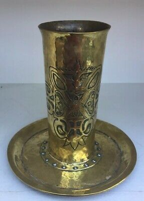 Stylish Antique Arts & Crafts Riveted Brass Spill Vase.