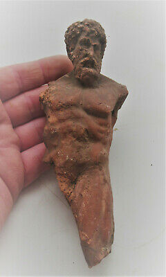 Ancient Greek Terracotta Statue Fragment Of Zues Circa 100Bc Very Rare