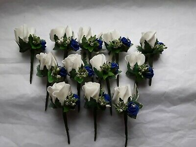 12 ivory /royal blue double rose/wedding buttonhole/rustic berry