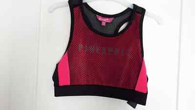 PINEAPPLE Pink and Black Girls Crop Top ~ Age 9-10 ~ Dance ~ Racer back ~