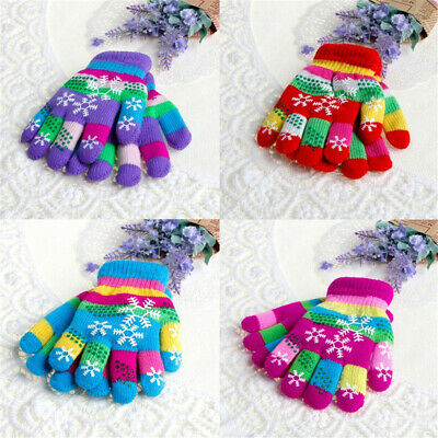 Winter Thermal Snow Print Children Mittens Knit Gloves Thicken Yarn Bilayer