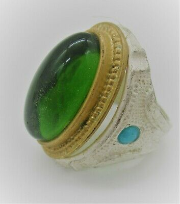 Beautiful Late Medieval Islamic Ottoman Silvered Ring With Green Stone