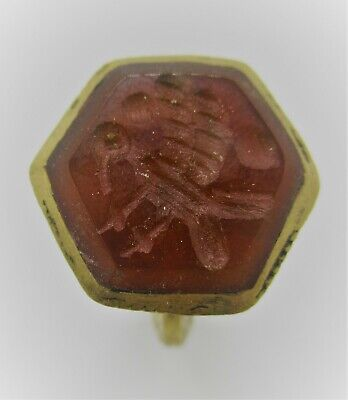 Late Medieval Islamic Gold Gilded Ottomans Seal Ring With Agate Stone